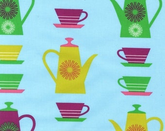 SALE - Robert Kaufman - Happy Home Collection by Print and Pattern - Retro Coffee Pots and Tea Cups - Aqua Blue