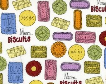 SALE - Metro Cafe Collection - Tea Biscuits - Pink Light Design for Robert Kaufman Fabrics- Novelty Fabric