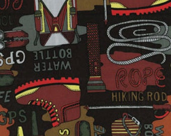 Trail Mix Collection - Camping Gear - Brown -  Benartex Fabric - Novelty Fabric