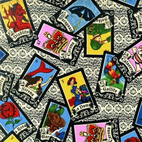 Robert Kaufman - Loteria - Game of Chance Cards - LoriLynn Simms - Novelty Fabric