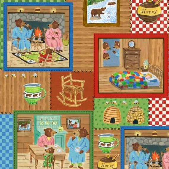 SALE - Windham Fabrics - The Three Bears Collection - Storybook Patchwork - Red