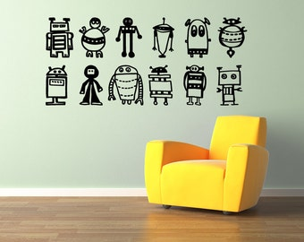 Robots wall decal MEDIUM size  - removable multiple robots decal - steampunk