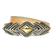 RESERVED- Vintage 80s Nude Leather Gold and Silver Buckle Belt XS/S/M