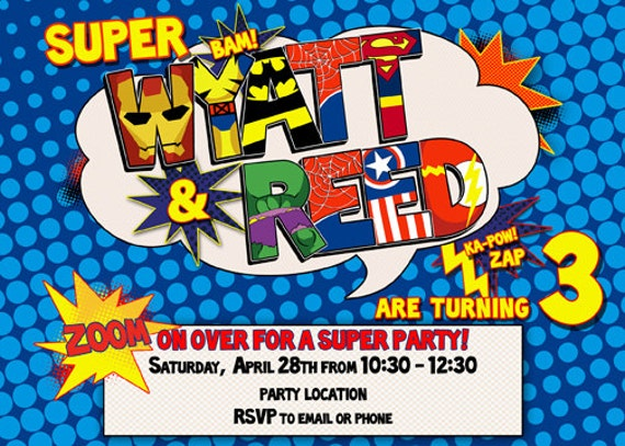 Joint Superhero Birthday Party Invitation Digital File