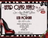Head over Heels in Love Bridal Shower Invitation - Red, Black, Zebra Print Pink Fuschia