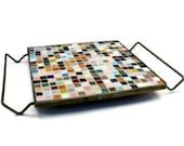 Multi Colored Tiled Mosaic Trivet on Gold Cradle