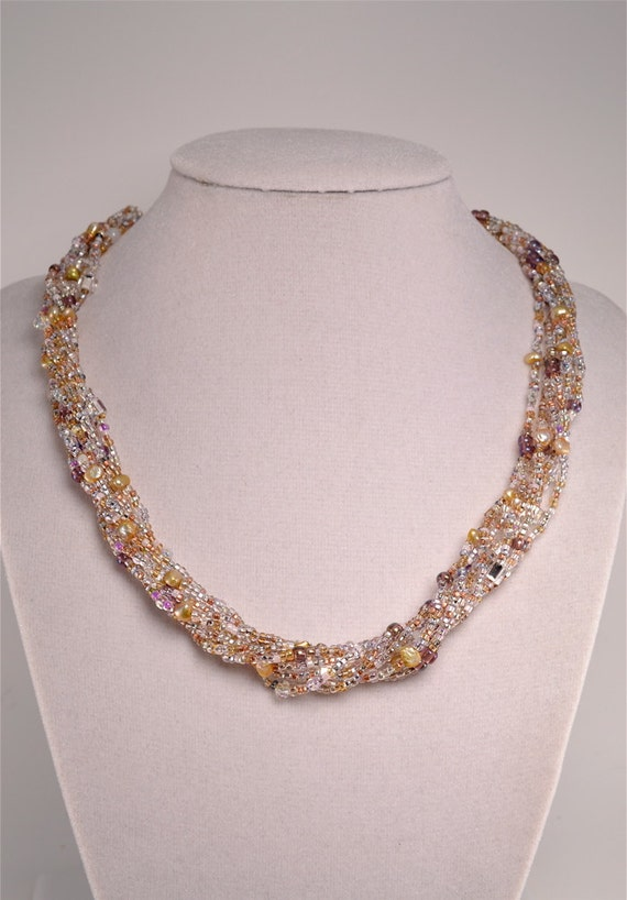 Colorful Multistrand Necklace with Seed Beads, Crystals and Pearls