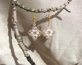 Beaded earrings. 'Pink and Pearl'
