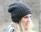 Chunky Crochet Slouchy Beanie Hat With Two Buttons The Dartmoor Charcoal