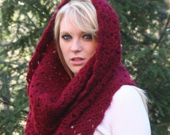 Ready to ship in Silver, Eggplant or Camel Chunky Cowl Scarf / THE ROCHDALE / Textured Crochet Hood Scarf Deep Red