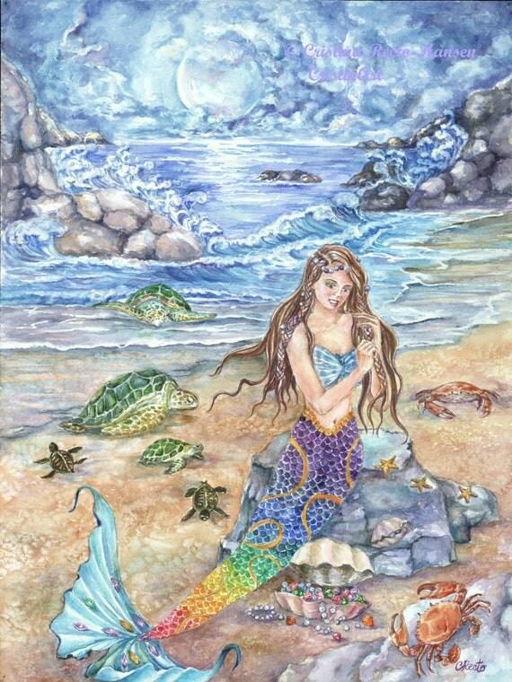 Moon Mermaid Art Salemermaid With Rainbow Colored Tail