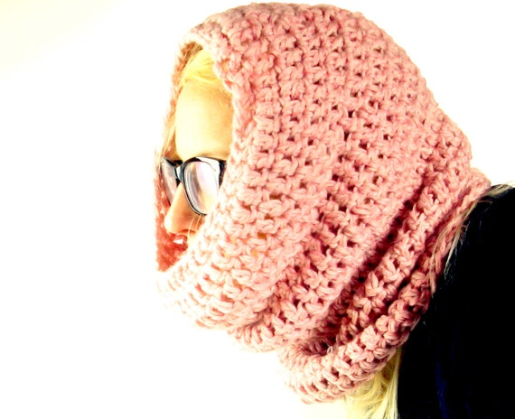 Chunnel Cowl -a crocheted, wide and long infinity scarf and snood for winter - pinks