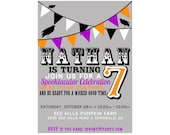 Custom Halloween Birthday Invitation - Birthday - Halloween Party  - Printable Party Supplies