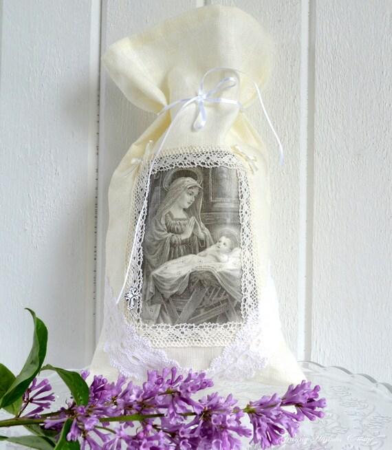 Linen gift bag sacral image Jesus Mary  Christmas ornament handmade