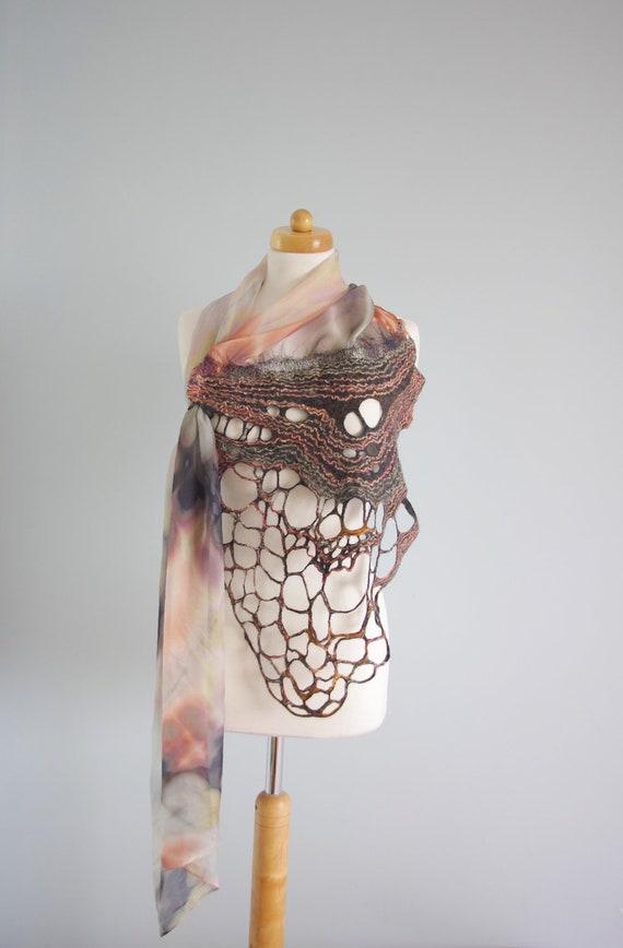 Handmade Nuno Felting Wool Silk Scarf - Hand Felted Wool and Silk Fabric