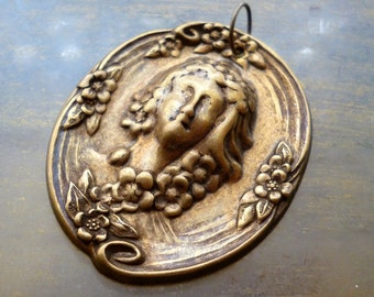 Victorian Cameo Marie Antoinette Woman Brass Pendant