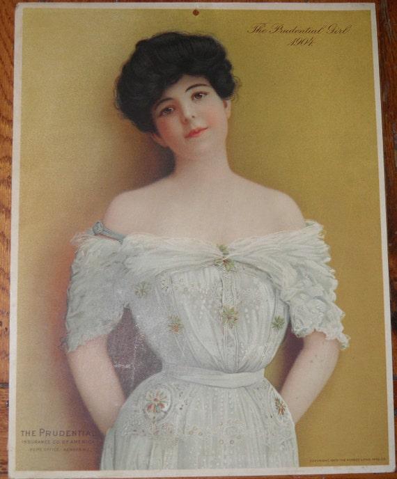 1904 Calendar Victorian Lady Portrait Prudential
