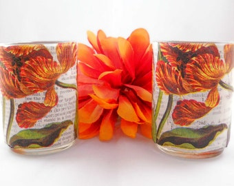 Decoupage Candle Holders // Votive or Tea Light //Tiger Lily with Vintage Dictionary Pages// Handmade Gift // Set of 2 // Spring Decor
