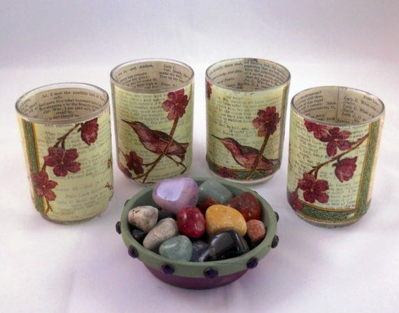 Decoupage Votive Candle Holder Set: Hummingbird Floral Motif with Romeo and Juliet Book Pages