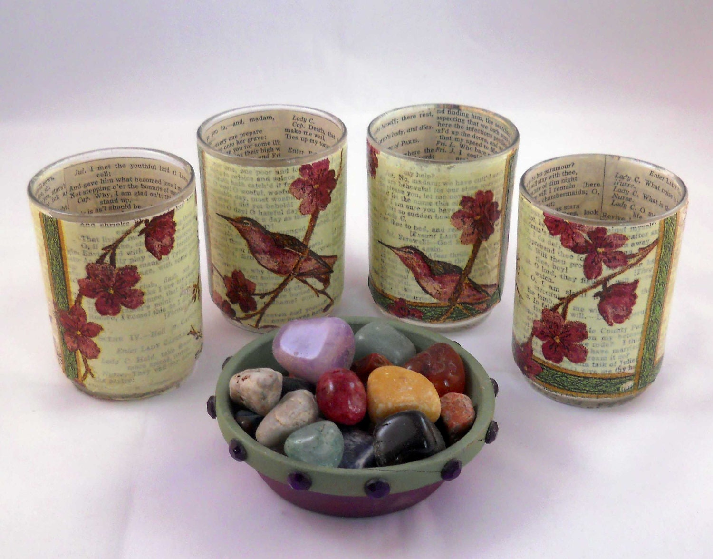 Decoupage Votive Candle Holder Set: Hummingbird Floral Motif