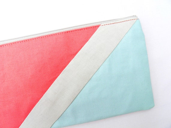 """zipper pouch 4""""X8""""  geometry  pencil case in hot coral and iced blue"""
