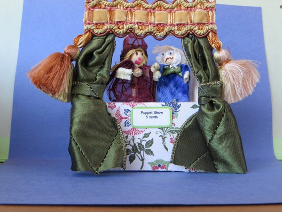 Dollhouse Miniature puppet theater and puppets 1:12 scale OOAK