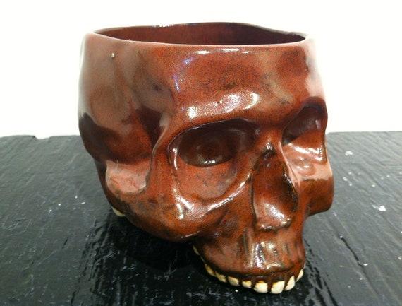 Chestnut Brown Skull Mug