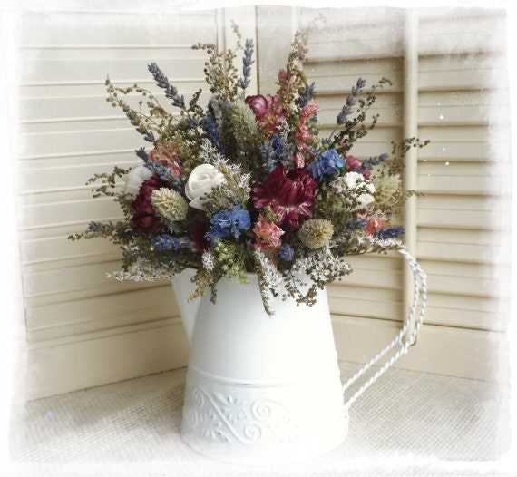 Dried Flowers in a White Tin Watering Can