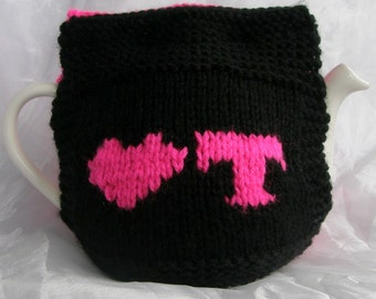 Love Tea Teapot Cosy - Black and Bright Pink
