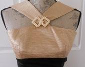 Vintage Evening Gown Formal Glamorous Black and Gold XS  Madmen Fashion Linda Segal