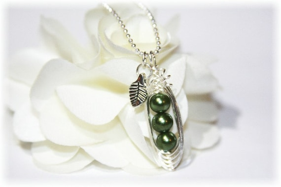 Peapod Necklace / Friendship Necklace / Wire Wrapped / Diamond Cut Chain / Green or Choice of Color