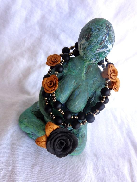 Black and Gold Rosey Universal Unitarian/Interfaith Prayer Beads.  Free US Shipping.