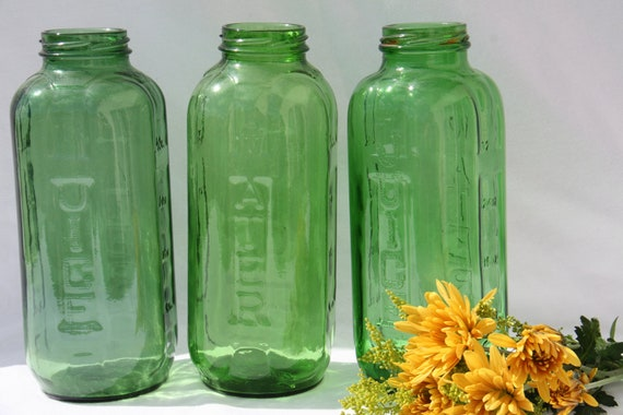 Three Vintage Green Water Juice Refrigerator Jars