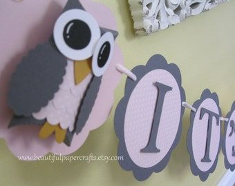 It's A Girl Owl Banner -  Pink and Gray Owl Baby Shower Banner- Owl Baby Shower Decorations-custom wording and colors