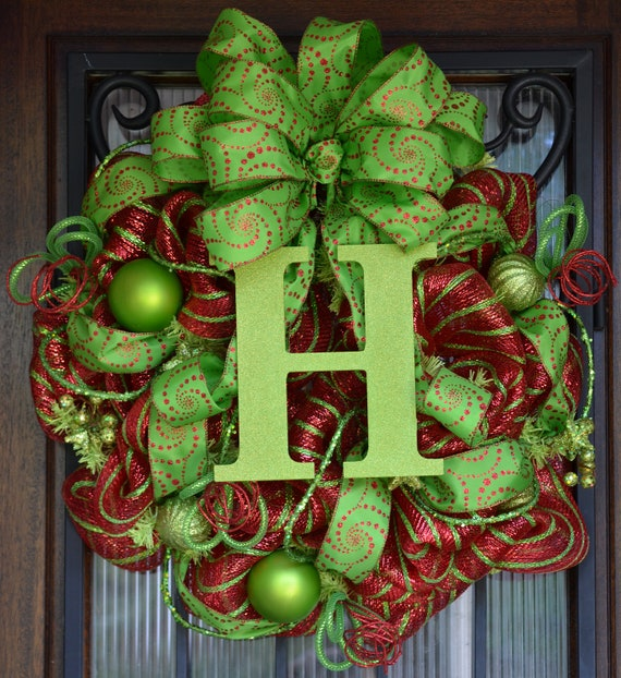 Christmas Monogram Wreath Red And Lime Green Initial