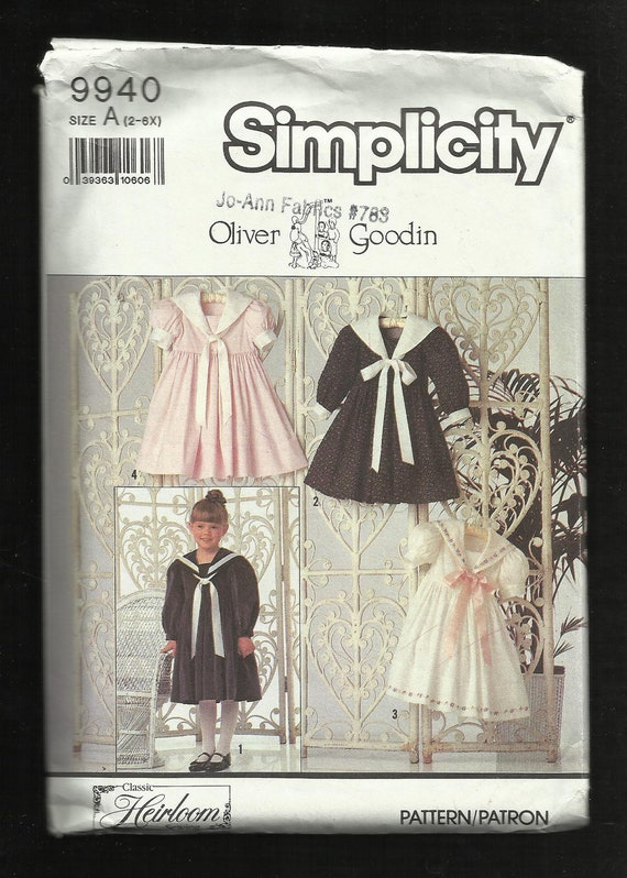 Simplicity 9940 Little Girl's Heirloom Sailor Dress By Designer Oliver Goodin UNCUT  Sizes 2 - 6X