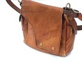 Saddle Bag, Heavy Duty Leather Purse, Leather Pocketbook, 1960's Retro Purse, Gift For MOM, Handbag Hipster, Vintage Handmade Leather Purse