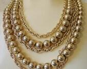 CORO Multi-Chain Bead Vintage Necklace
