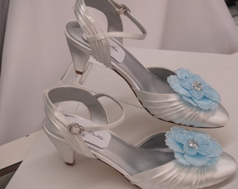 Wedding Wide Shoes Blue or White Flower short comfortable heels, Something Blue,Rounded Closed Toe,Ankle Strap,rouged white satin,big flower