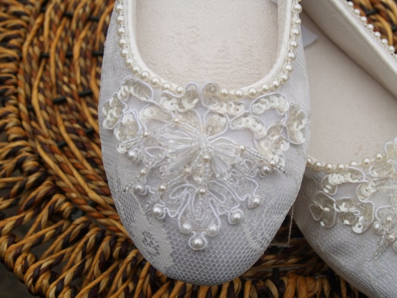 Ivory Wedding Flat Shoes Hand sewn pearls edging and applique