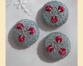 embroidered buttons handmade in duck-egg blue silk with silver, rose and red thread, size 29mm