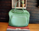 vintage mini carry on bag suitcase 1960s 1970s green leather luggage