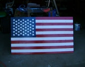 Wood Hand painted American Flag