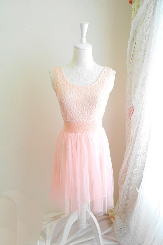 Romantic Ballerina Dreamy Style Lace tank dress tutu bottom tunic baby pink zipper back
