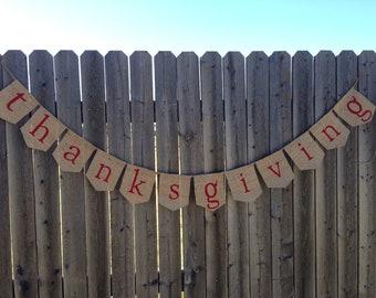 Thanksgiving Burlap Banner / Bunting