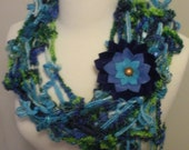 Mixed Fiber Shades of Blue Scarf/Shawl with Flower Clip