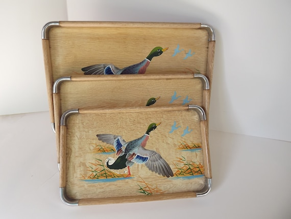 Vintage Retro Standard Speciality Wood Serving Nesting Trays With Painted Ducks Circa 1950's Made In Japan