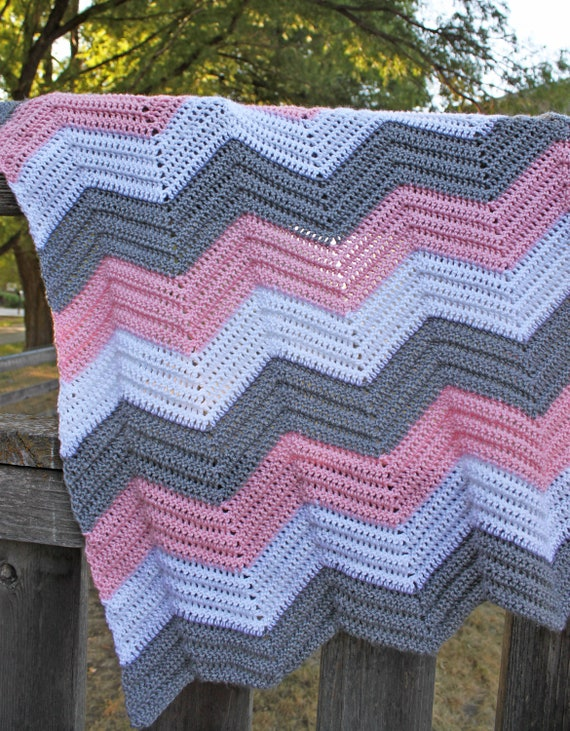 Free Pattern Crochet Chevron Baby Blanket : Etsy item spotlight: Crochet Chevron Baby Afghan, Made To ...