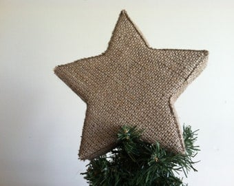 Star Tree Topper in Tan (Natural) Burlap