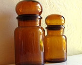 Pair Brown Amber Glass Round Bubble Apothecary Jars with Lids 2 Two Belgium